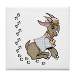 Cute Girl Cartoon Goat Tile Coaster