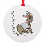 Cute Girl Cartoon Goat Round Ornament