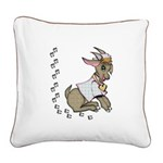 Cute Girl Cartoon Goat Square Canvas Pillow