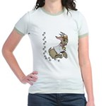 Cute Girl Cartoon Goat Jr. Ringer T-Shirt