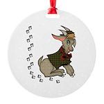 Cute Cartoon Boy Goat Round Ornament