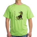 Cute Cartoon Boy Goat Green T-Shirt