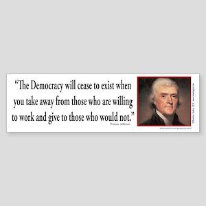 Thomas Jefferson on Democracy Sticker (Bumper)