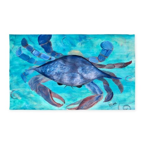 Blue Crab 3 X5 Area Rug