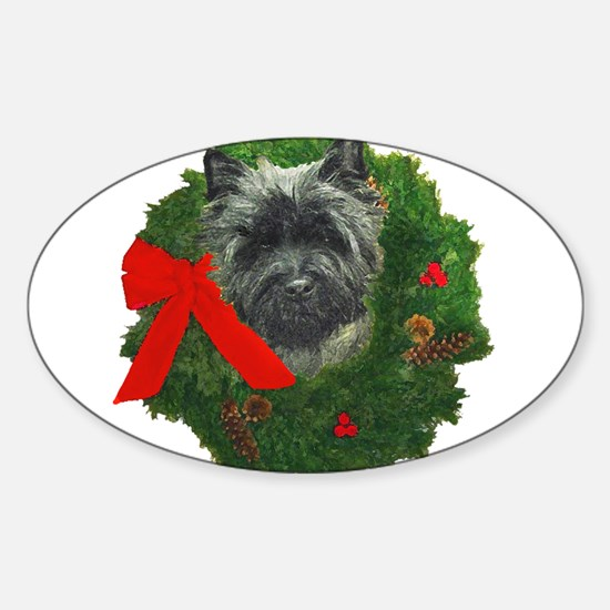 Cairn at Christmas Sticker (Oval)