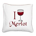Merlot Drinker Square Canvas Pillow