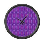 Retro Purple Pattern Large Wall Clock