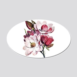 Pink Magnolia Flowers 35x21 Oval Wall Decal