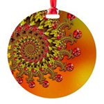 Orange Fractal Art Round Ornament