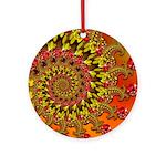 Funky Orange Fractal Art Pattern Ornament (Round)