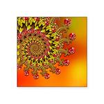 Orange Fractal Art Square Sticker 3