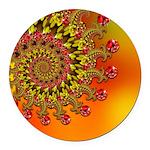 Orange Fractal Art Round Car Magnet