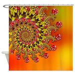 Funky Orange Fractal Art Pattern Shower Curtain