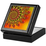 Funky Orange Fractal Art Pattern Keepsake Box