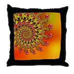 Funky Orange Fractal Art Pattern Throw Pillow