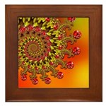 Funky Orange Fractal Art Pattern Framed Tile