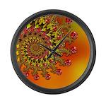 Funky Orange Fractal Art Pattern Large Wall Clock