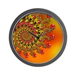 Funky Orange Fractal Art Pattern Wall Clock