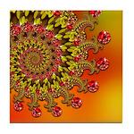 Funky Orange Fractal Art Pattern Tile Coaster
