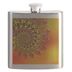 Funky Orange Fractal Art Pattern Flask