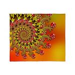 Funky Orange Fractal Art Pattern Throw Blanket