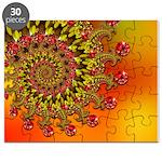 Funky Orange Fractal Art Pattern Puzzle