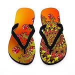 Funky Orange Fractal Art Pattern Flip Flops