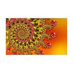 Funky Orange Fractal Art Pattern 35x21 Wall Decal