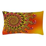 Funky Orange Fractal Art Pattern Pillow Case