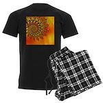 Orange Fractal Art Men's Dark Pajamas