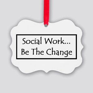 Social Work - Be The Change Picture Ornament