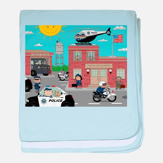 POLICE DEPARTMENT SCENE baby blanket