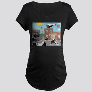 POLICE DEPARTMENT SCENE Maternity Dark T-Shirt