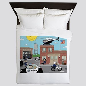 POLICE DEPARTMENT SCENE Queen Duvet