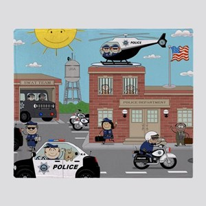 POLICE DEPARTMENT SCENE Throw Blanket