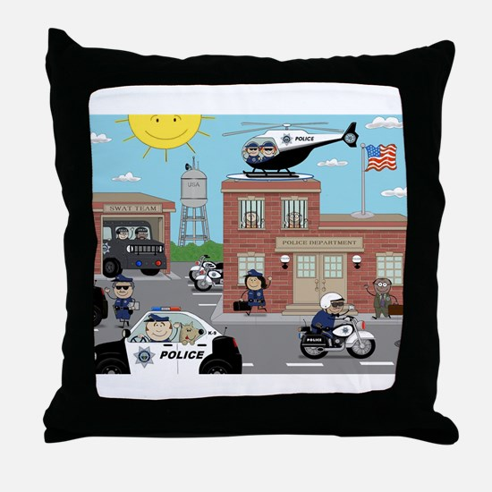 POLICE DEPARTMENT SCENE Throw Pillow