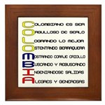 Acróstico Colombia Framed Tile