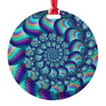 Turquoise Fractal Pattern Round Ornament