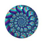 Turquoise Fractal Pattern Ornament (Round)