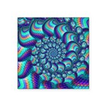 Turquoise Balls Fractal Art Pattern Square Sticker