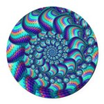 Turquoise Fractal Pattern Round Car Magnet