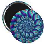 Turquoise Fractal Pattern Magnet