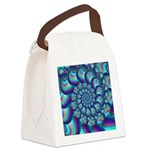 Turquoise Fractal Pattern Canvas Lunch Bag
