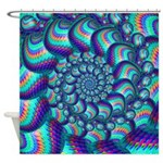 Turquoise Balls Fractal Art Pattern Shower Curtain