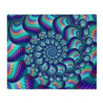 Turquoise Fractal Pattern Throw Blanket