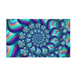 Turquoise Fractal Pattern 35x21 Wall Decal