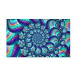 Turquoise Fractal Pattern 20x12 Wall Decal