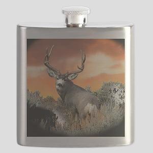 buck mule deer Flask