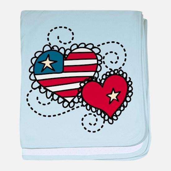 America Hearts baby blanket