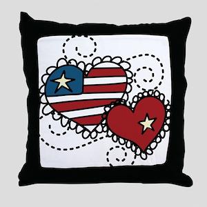 America Hearts Throw Pillow